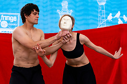 Edinburgh, Scotland, UK. 2 August 2019. On the opening day of the Edinburgh Festival Fringe Russian Alyona Ageeva Physical Theatre perform on a Royal Mile stage.