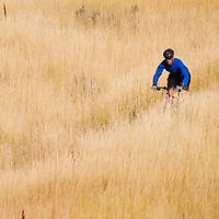 Mountain biker in the foothills above Salt Lake City