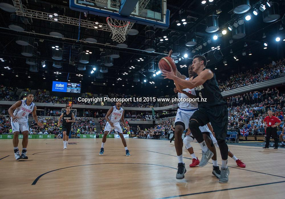 25.07.2015. London England. Basketball test match. Great Britain versus New Zealand.   Tall Blacks Guard Jarrod Kenny [#6] drives for the basket.