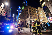 A  Fire Engine outside the bank of Iraq that Occupy London had taken over  7-10 Ledenhall st in London on January 27th 2012..Incident Commander confirmed theres a chemical leek in the building...Photo Ki Price .