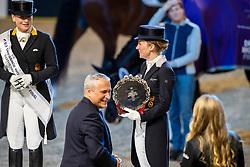 Langehanenberg Helen, GER, De Vos Ingmar, BEL<br /> Göteborg - Gothenburg Horse Show 2019 <br /> FEI Dressage World Cup™ Final II<br /> Grand Prix Freestyle/Kür - Prix giving ceremony<br /> Longines FEI Jumping World Cup™ Final and FEI Dressage World Cup™ Final<br /> 06. April 2019<br /> © www.sportfotos-lafrentz.de/Stefan Lafrentz
