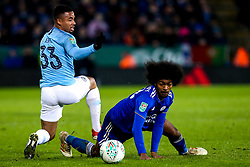 Gabriel Jesus of Manchester City is tackled by Hamza Choudhury of Leicester City - Mandatory by-line: Robbie Stephenson/JMP - 18/12/2018 - FOOTBALL - King Power Stadium - Leicester, England - Leicester City v Manchester City - Carabao Cup Quarter Finals