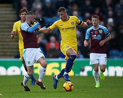 Ross Barkley of Chelsea (C) and Steven Defour of Burnley in action - Mandatory by-line: Jack Phillips/JMP - 28/10/2018 - FOOTBALL - Turf Moor - Burnley, England - Burnley v Chelsea - English Premier League