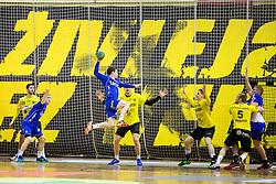 Miha Zarabec of RK Celje PL during handball match between RK Gorenje Velenje and RK Celje Pivovarna Lasko in Round #19 of 1st NLB League 2015/16, on February 24, 2016 in Rdeca dvorana, Velenje, Slovenia. Photo by Vid Ponikvar / Sportida