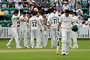 Wicket - Tom Abell of Somerset celebrates taking the wicket of Tom Moores of Nottinghamshire during the Specsavers County Champ Div 1 match between Somerset County Cricket Club and Nottinghamshire County Cricket Club at the Cooper Associates County Ground, Taunton, United Kingdom on 10 June 2018. Picture by Graham Hunt.