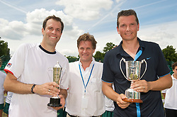 NOTTINGHAM, ENGLAND - Sunday, June 14, 2009: Richard Krajicek (NED), Greg Rusedski (GBR) and Tournament Director Anders Borg on finals day of the Tradition Nottingham Masters tennis event at the Nottingham Tennis Centre. (Pic by David Rawcliffe/Propaganda)