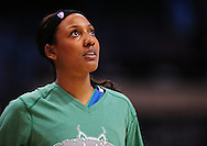 Sep 25, 2011; Phoenix, AZ, USA; Minnesota Lynx guard Candice Wiggins (11) reacts on the court while playing against the Phoenix Mercury at the US Airways Center. Mandatory Credit: Jennifer Stewart-US PRESSWIRE