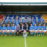 St Johnstone FC 2014-2015 Season Photocall..15.08.14<br /> Back row from left, Brian Easton, Steven Anderson, Murray Davidson, Tom Scobbie, Liam Caddis, Gary McDonald, Gareth Rodger and Gary Miller.<br /> Middle row from left, Alistair Stevenson (Youth Dev Manager), Ewan Peacock (Chief Scout), George Browning (Youth Dev GK Coach), Colin Leavy (Sports Scientist), Chris Kane, Steve Banks, Alan Mannus, Zander Clark, Dylan Easton, Alec Cleland (First Team Coach), Michael McBride (Physio), Alan Lochtie (Asst Physio) and Tommy Campbell (Kit Manager).<br /> Front row from left, Adam Morgan, Chris Millar, Steven MacLean, Dave Mackay (Captain), Paul Smith (Football Business Manager) Tommy Wright (Manager), Callum Davidson (Asst Manager), Frazer Wright (Vice-Captain), David Wotherspoon, Lee Croft and Michael O'Halloran.<br /> Picture by Graeme Hart.<br /> Copyright Perthshire Picture Agency<br /> Tel: 01738 623350  Mobile: 07990 594431