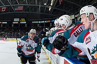 KELOWNA, CANADA - JANUARY 4: Conner Bruggen-Cate #20 of the Kelowna Rockets celebrates a second period goal against the Prince George Cougars on January 4, 2019 at Prospera Place in Kelowna, British Columbia, Canada.  (Photo by Marissa Baecker/Shoot the Breeze)