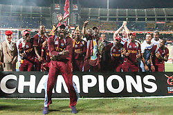 © Licensed to London News Pictures. 07/10/2012. The West Indian team celebrate during the Trophy ceremony during the World T20 Cricket Mens Final match between Sri Lanka Vs West Indies at the R Premadasa International Cricket Stadium, Colombo. Photo credit : Asanka Brendon Ratnayake/LNP