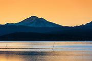 Sunrise over Mt. Baker across Bellingham Bay, Bellingham, Washington, Pacific Northwest, USA.