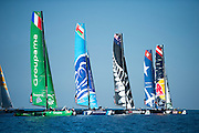 Lining up to round the top mark, Day one of the Extreme Sailing Series at Nice. 2/10/2014