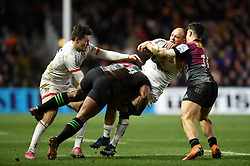 Matt Faddes of Ulster is tackled by Vereniki Goneva of Harlequins - Mandatory byline: Patrick Khachfe/JMP - 07966 386802 - 13/12/2019 - RUGBY UNION - The Twickenham Stoop - London, England - Harlequins v Ulster Rugby - Heineken Champions Cup