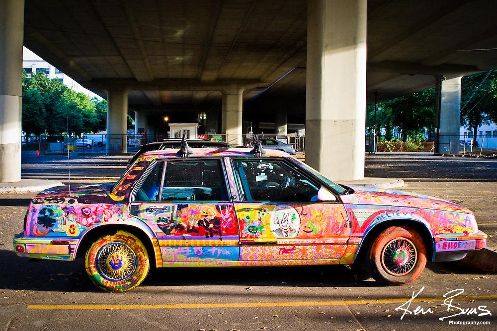Graffiti Car under a bridge in Portland, Oregon