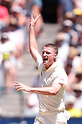 Jackson Bird appeals for a wicket during the Magellan fourth test match between Australia v England at  the Melbourne Cricket Ground, Melbourne, Australia on 26 December 2017. Photo by Mark  Witte.
