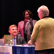 """Oct. 8, 2012 - Hempstead, New York, U.S. - DOUGLAS BRINKLEY signed his books, including """"Cronkite"""" and """"The Reagan Diaries,"""" for the audience after he spoke at Hofstra University about """"The Evolution of U.S. Presidential Debates: From G. Washington to B. Obama."""" This lecture was part of """"Debate 2012 Pride Politics and Policy"""" a series of events leading up to when Hofstra hosts the 2nd Presidential Debate between Obama and M. Romney, on October 16, 2012, in a Town Meeting format."""