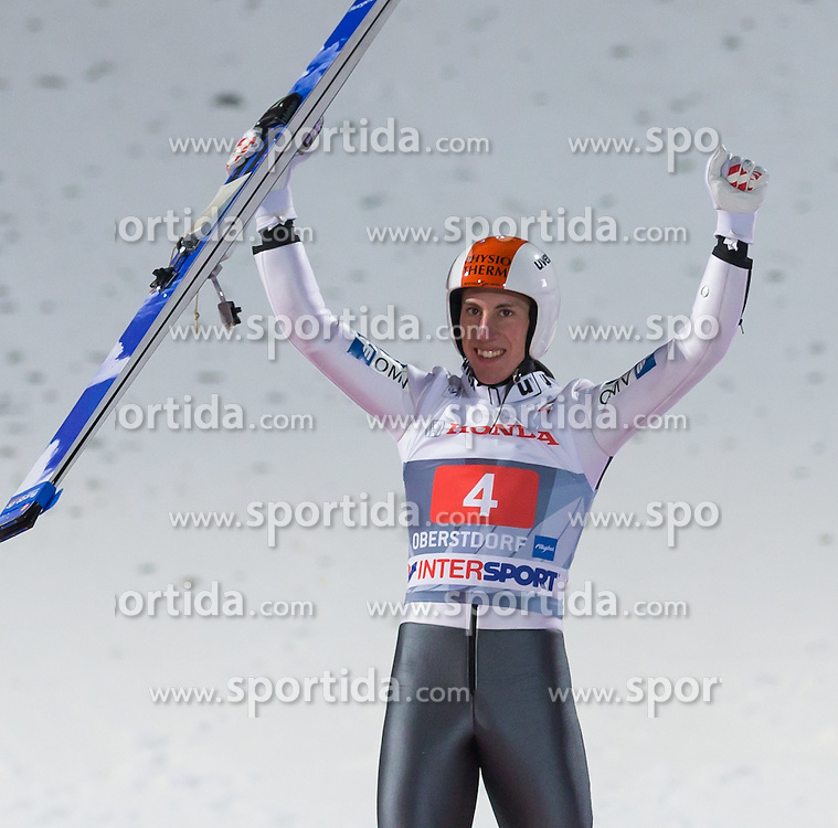 29.12.2013, Schattenbergschanze, Oberstdorf, GER, FIS Ski Sprung Weltcup, 62. Vierschanzentournee, Podium, im Bild Thomas Diethart (AUT) //Thomas Diethard of Austria// celebrate on Podium of 62th Four Hills Tournament of FIS Ski Jumping World Cup at the Schattenbergschanze, Oberstdorf, Germany on 2013/12/29. EXPA Pictures © 2013, PhotoCredit: EXPA/ Peter Rinderer