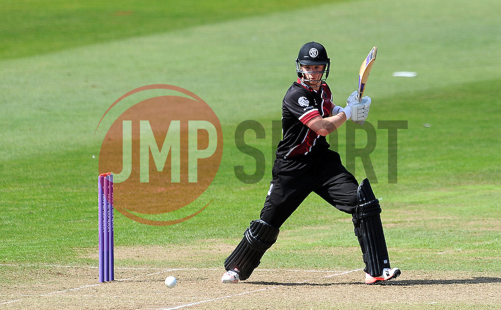 Somerset's Tom Abell cuts the ball - Photo mandatory by-line: Harry Trump/JMP - Mobile: 07966 386802 - 31/07/15 - SPORT - CRICKET - Somerset v Worcestershire- Royal London One Day Cup - The County Ground, Taunton, England.