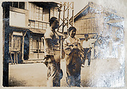 rural street scene with people Japan ca 1930s
