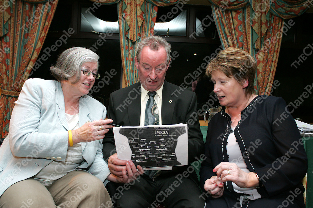Pictured at the MRSA Meeting in the Clare Inn Hotel were Mary Tierney, James Breen and Margaret Dawson, Founder and Spokeperson MRSA.<br />