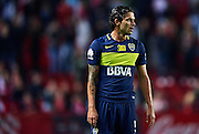 "SEVILLE, SPAIN - NOVEMBER 11:  Fernando Gago of Boca Juniors looks on during the match between Sevilla FC vs Boca Juniors as part of the friendly match ""Trofeo Antonio Puerta"" at Ramon Sanchez Pizjuan stadium on November 11, 2016 in Seville, Spain.  (Photo by Aitor Alcalde Colomer/Getty Images)"