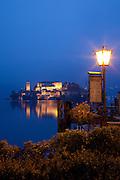 Isola San Giulio at dusk from Orta San Giulio, Piedmont, Italy.