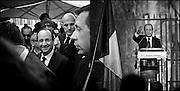 Francois Hollande lors de son déplacement a Nimes pour un meeting.Francois Hollande when moved to a rally in Nimes