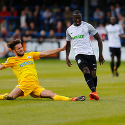 SEPTEMBER 1y6:  Dover Athletic against Chester FC in Conference Premier at Crabble Stadium in Dover, England. Doveer ran out emphatic winners 4 goal to nothing.  Dover's midfielder Nortei Nortey passes the ball despite the best efforts of Chester's Lucas Dawson. (Photo by Matt Bristow/mattbristow.net)