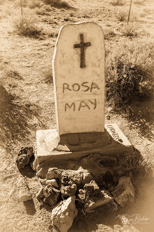 Grave of Rosa May (prostitute) outside the Bodie Cemetery, Bodie State Historic Park, California USA