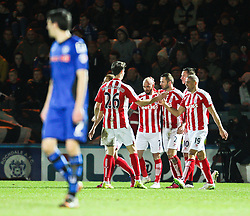 Stoke City's Stephen Ireland celebrates after scoring the second goal - Photo mandatory by-line: Matt McNulty/JMP - Mobile: 07966 386802 - 26/01/2015 - SPORT - Football - Rochdale - Spotland Stadium - Rochdale v Stoke City - FA Cup Fourth Round