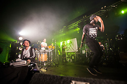 Rapper Louie, of Hector Bizerk, the experimental hip-hop group from Glasgow, Scotland, headline the Transmission Stage on Friday, 10th July 2015, First day at T in the Park 2015, at its new home at Strathallan Castle.