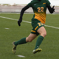2nd year forward Alex Ensign (22) of the Regina Cougars in action during the Women's Soccer  road trip to Saskatoon on October 9 at Griffiths Stadium. Credit: Arthur Ward/Arthur Images