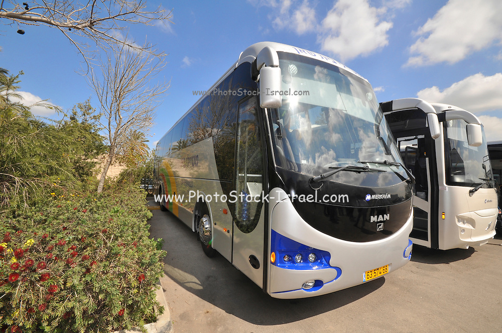 Israel, Newly assembled bus at Merkavim Ltd. A modern, top-of-the-line bus manufacturer, jointly owned by Volvo Bus Corporation & Mayer Cars & Trucks Ltd. Operating one of the most advanced production plants in Europe today, the company develops designs & manufactures a large variety of state-of-the-art models. Its product range, featuring up-to-the-minute technologies & durable stainless steel bodies, includes tourist coaches, city & inter-city buses, armored buses, minibuses & custom-made VIP buses.