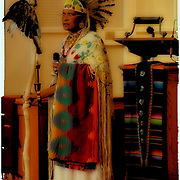Chief Joy and Happeniness Running Water speaking about the Tree of Life at the Native American Sunday Worship Service.  She is wearing Native American regalia for a spirtual time of sharing of cultures at the Sayville Congregrational UCC Church in Sayville, New York on November 23,2008.