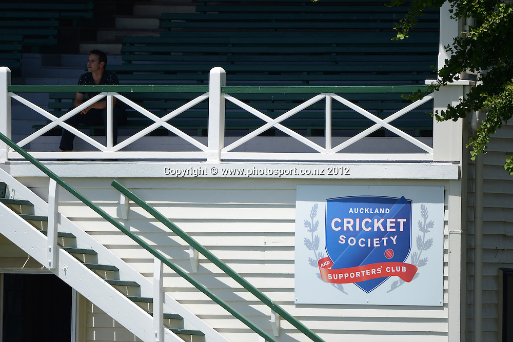 Auckland Cricket Society. Plunket Shield Cricket, Auckland Aces v Wellington Firebirds at Eden Park Outer Oval. Auckland on Tuesday 27 November 2012. Photo: Andrew Cornaga/Photosport.co.nz