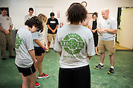 The Rev. Mark Kiessling, associate director of LCMS Youth Ministry, leads prayer before morning training during the 2014 Youth Corps pilot project at Shepherd of the City Lutheran Church on Tuesday, August 12, 2014, in Philadelphia, Pa. LCMS Communications/Erik M. Lunsford