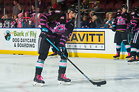KELOWNA, BC - SEPTEMBER 21:  Alex Swetlikoff #17 of the Kelowna Rockets warms up with the puck against the Spokane Chiefs  at Prospera Place on September 21, 2019 in Kelowna, Canada. (Photo by Marissa Baecker/Shoot the Breeze)
