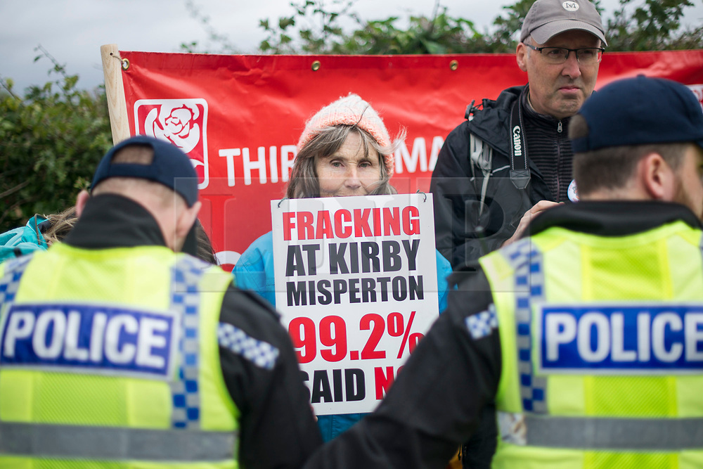 © Licensed to London News Pictures. 11/10/2017. Lancashire, UK.  A protester at the Anti-Fracking Demonstration in Kirby Misperton, Yorkshire. The protest blocked the entrance to Third Energy's Hydraulic fracking site after they were granted permission to set up their drilling rig at the site.  Photo credit: Steven Speed/LNP