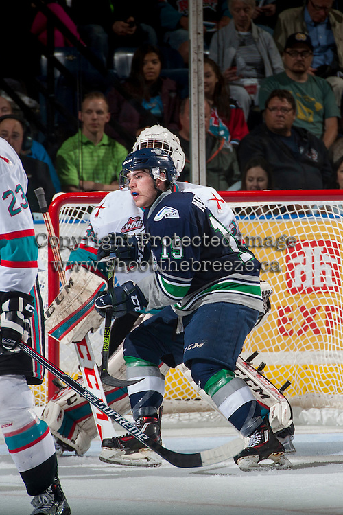 KELOWNA, CANADA - APRIL 22: Donovan Neuls #19 of Seattle Thunderbirds looks for the pass in front of the net of Michael Herringer #30 of Kelowna Rockets on April 22, 2016 at Prospera Place in Kelowna, British Columbia, Canada.  (Photo by Marissa Baecker/Shoot the Breeze)  *** Local Caption *** Donovan Neuls; Michael Herringer;