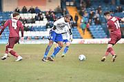 Bury Forward, Leon Clarke looks to break during the Sky Bet League 1 match between Bury and Bradford City at the JD Stadium, Bury, England on 5 March 2016. Photo by Mark Pollitt.