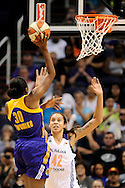Sep 21, 2013; Phoenix, AZ, USA; Phoenix Mercury center Brittney Griner (42) defends Los Angeles Sparks forward Nneka Ogwumike (30) in Game 2 of a WNBA basketball Western Conference semifinal series at US Airways Center. The Sparks defeated the Mercury 82-73. Mandatory Credit: Jennifer Stewart-USA TODAY Sports