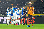 Huddersfield Town Celebrate as Karlan Grant of Huddersfield Town scores a goal 0-1 during the EFL Sky Bet Championship match between Hull City and Huddersfield Town at the KCOM Stadium, Kingston upon Hull, England on 28 January 2020.