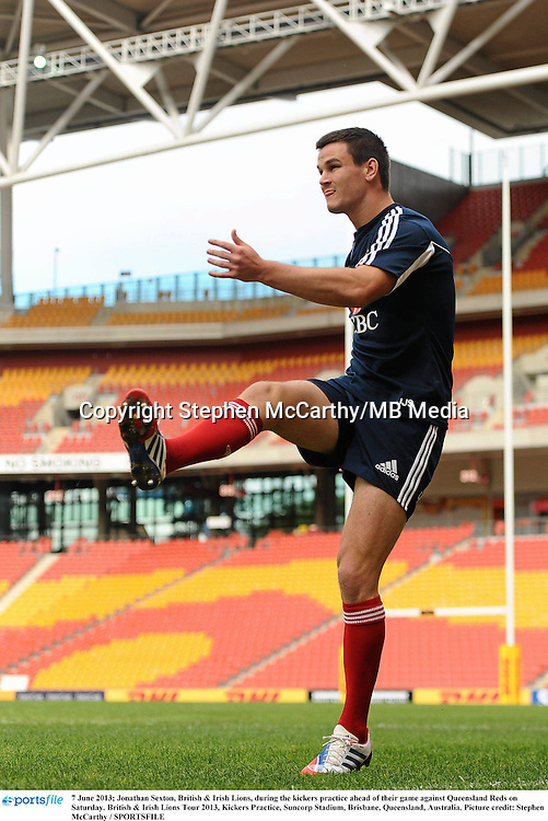 7 June 2013; Jonathan Sexton, British & Irish Lions, during the kickers practice ahead of their game against Queensland Reds on Saturday. British & Irish Lions Tour 2013, Kickers Practice, Suncorp Stadium, Brisbane, Queensland, Australia. Picture credit: Stephen McCarthy / SPORTSFILE
