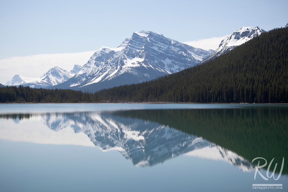 Mount Patterson and Waputik Range Reflection in Lower Waterfowl Lake, Banff National Park, Alberta, Canada