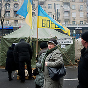 December 18, 2013 - Kiev, Ukraine: Pro-EU demonstrators rally at Independence Square, also known as Maidan.<br /> On the night of 21 November 2013, a wave of demonstrations and civil unrest began in Ukraine, when spontaneous protests erupted in the capital of Kiev as a response to the government&rsquo;s suspension of the preparations for signing an association and free trade agreement with the European Union. Anti-government protesters occupied Independence Square, also known as Maidan, demanding the resignation of President Viktor Yanukovych and accusing him of refusing the planned trade and political pact with the EU in favor of closer ties with Russia.<br /> After a days of demonstrations, an increasing number of people joined the protests. As a responses to a police crackdown on November 30, half a million people took the square. The protests are ongoing despite a heavy police presence in the city, regular sub-zero temperatures, and snow. (Paulo Nunes dos Santos/Polaris)
