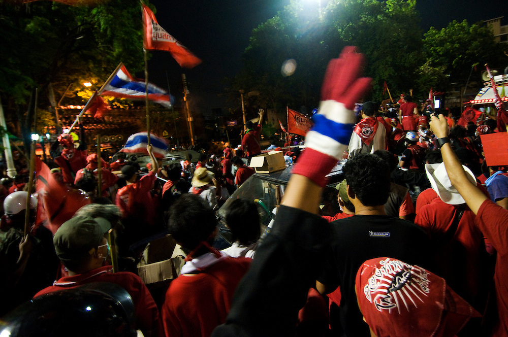 Red Shirt anti government protestors clash with Army troops in Bangkok, Thailand on Saturday, April 10, 2010