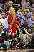 Apr 19, 2010; Cleveland, OH, USA; Fans taunt Chicago Bulls guard Taj Gibson during the third period against Cleveland Cavaliers in game two in the first round of the 2010 NBA playoffs at Quicken Loans Arena. The Cavaliers beat the Bulls 112-102. Mandatory Credit: Jason Miller-US PRESSWIRE