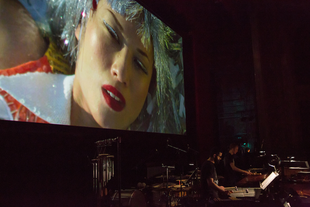 Brooklyn, NY - 20 January 2015. The dress rehearsal of Sufjan Stevens' Round-Up, with slow motion film of the Pendleton, Oregon Round-Up by Aaron and Alex Craig, music performd by Sufjan Stevens and Yarn/Wire.