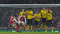 Football - 2016 / 2017 Premier League - Arsenal vs. Watford <br /> <br /> Alexis Sanchez of Arsenal with a late effort from a free kick at The Emirates.<br /> <br /> COLORSPORT/DANIEL BEARHAM