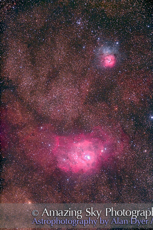 M8 Lagoon Nebula and M20 Trifid Nebula, with Astro-Physics Traveler 4-inch apo refractor at f/6 with Canon 5D camera, for 7 minutes each at ISO800. Stack of four exposures. Taken from Coonabarabran, NSW, Australia, July 2006. Slight trailing and soft focus.